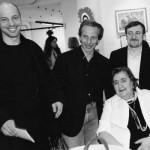 Aldo, Giovanni e Giacomo con la poetessa Alda Merini (foto Giuliano Grittini)