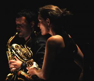 Alexander Doroshkevich e Annegret Schmiedl, membri del Sonic.art Saxophone Quartet